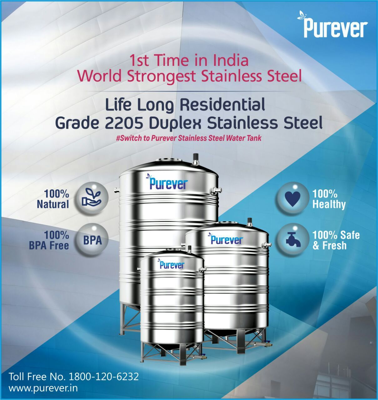 Ist Time In India World Strongest Stainless Steel Purever Life Long Residential Grade Switch To Purever Wa Steel Water Tanks Water Tank Stainless Steel