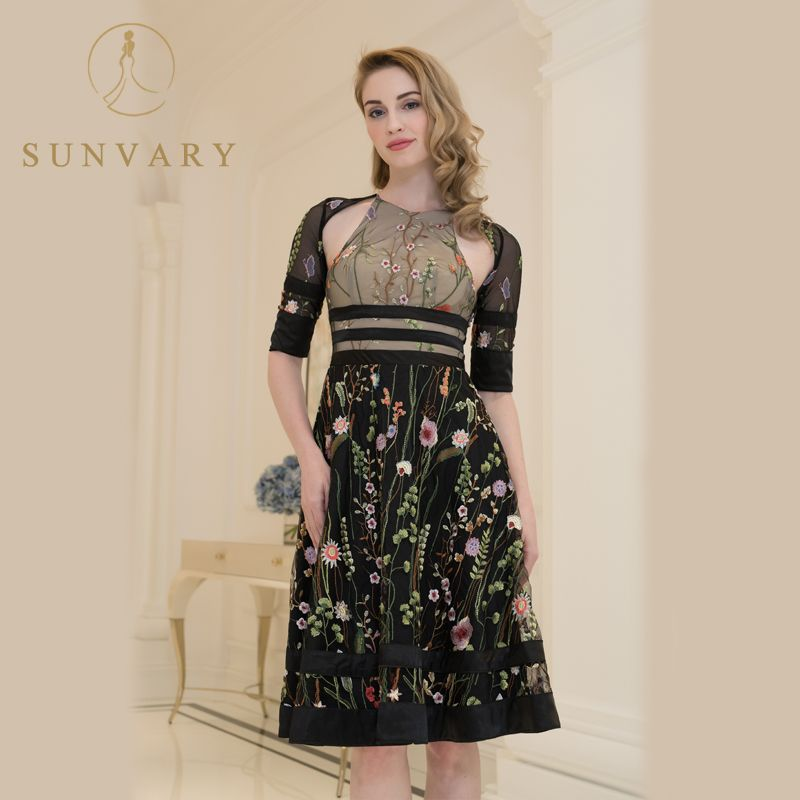 Sunvary Customized Vintage Embroidery Celebrity Dress Short Sleeve Corset A  Line Party Dress Tea-length f247cd0cc681