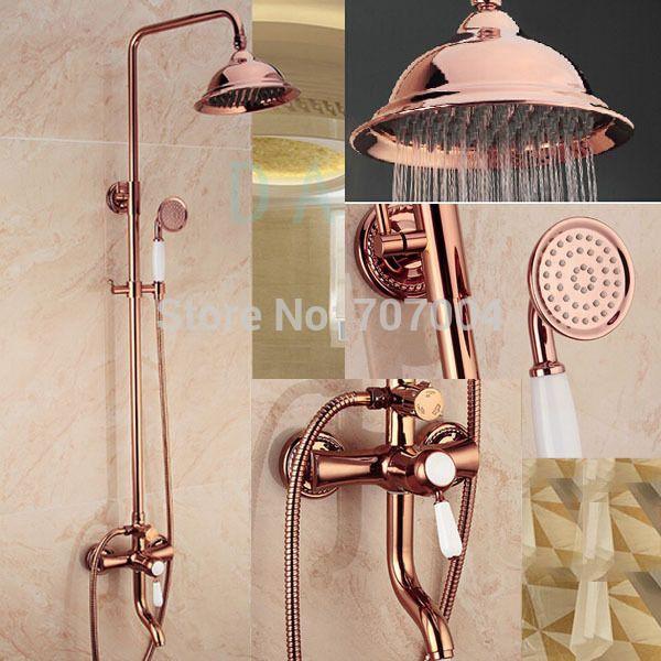 Luxury Rose Gold Bathroom Bath And Shower Set Faucet Single Handle