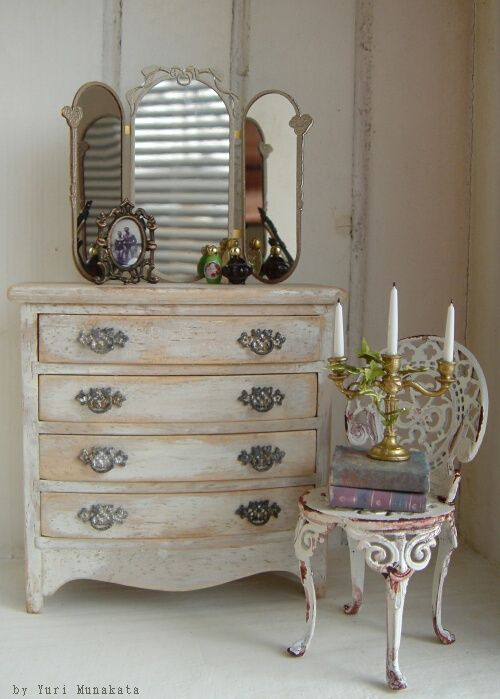 Dollhouse dresser with mirror, and ornate metal chair | Miniature ...
