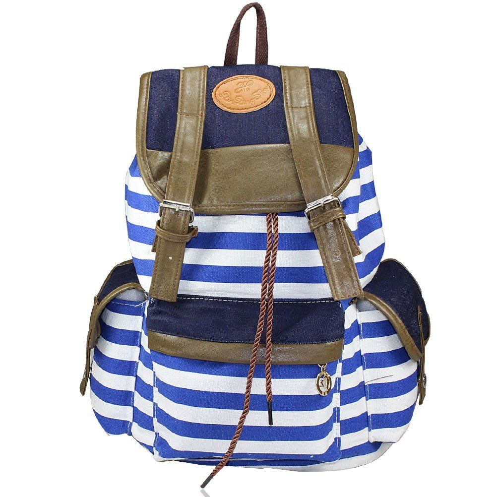 Amazon.com: Evalley Unisex Fashionable Canvas Backpack School Bag ...