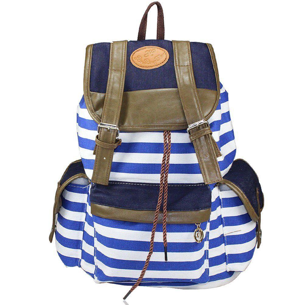 Amazon.com: Evalley Unisex Fashionable Canvas Backpack School Bag ...