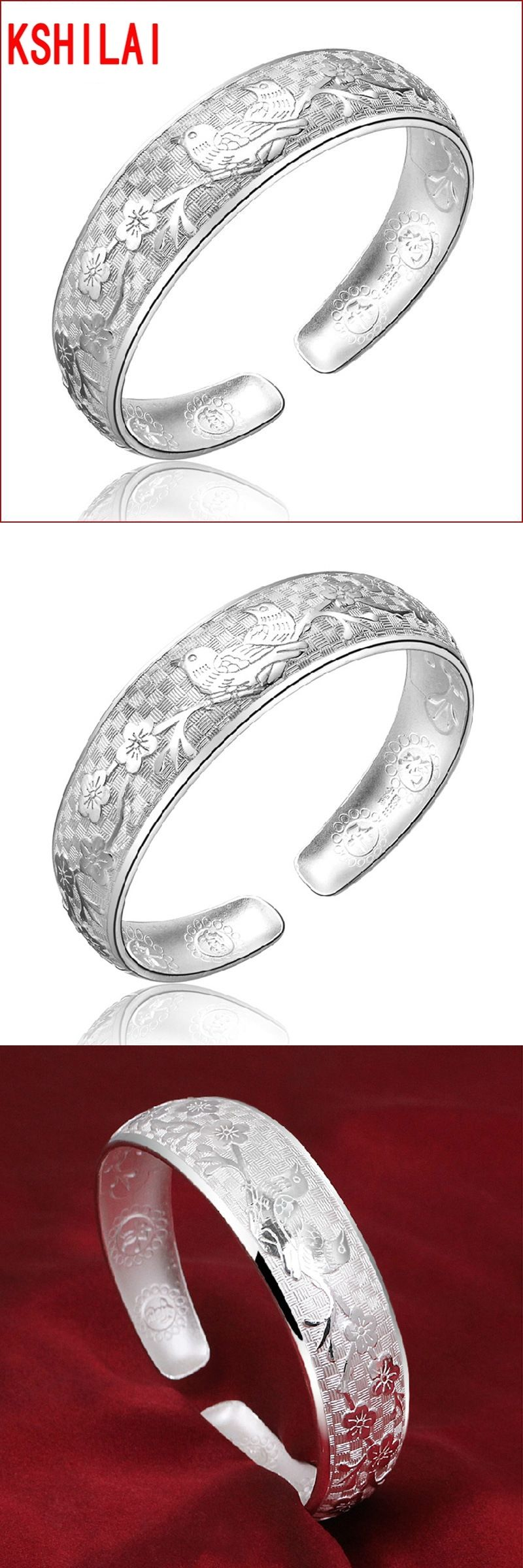 The new silver luxury elegant expandable love big bracelets bangles