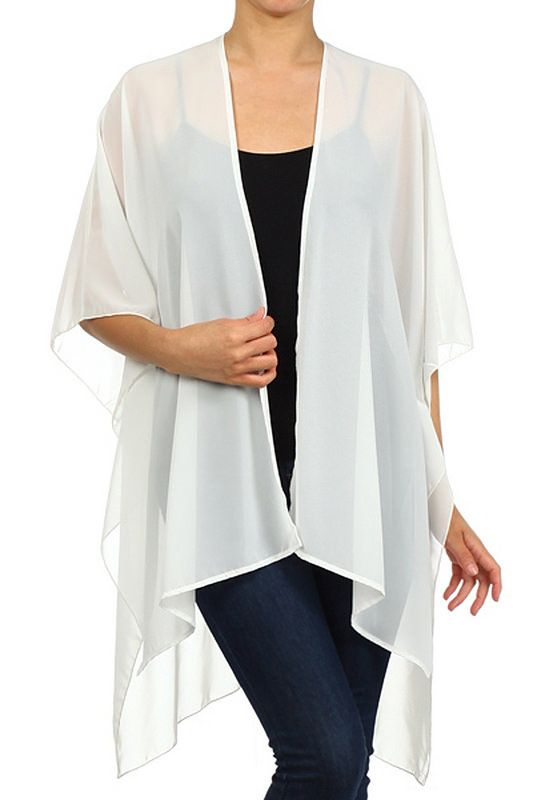 Modern Kiwi Solid Sheer Chiffon Kimono Cardigan in Ivory | Cozy Up ...