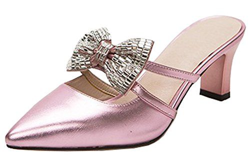 61093e232cf Women s Sexy Closed Pointed Toe Mid Block Heels Slip On Mules Sandals With  Bows