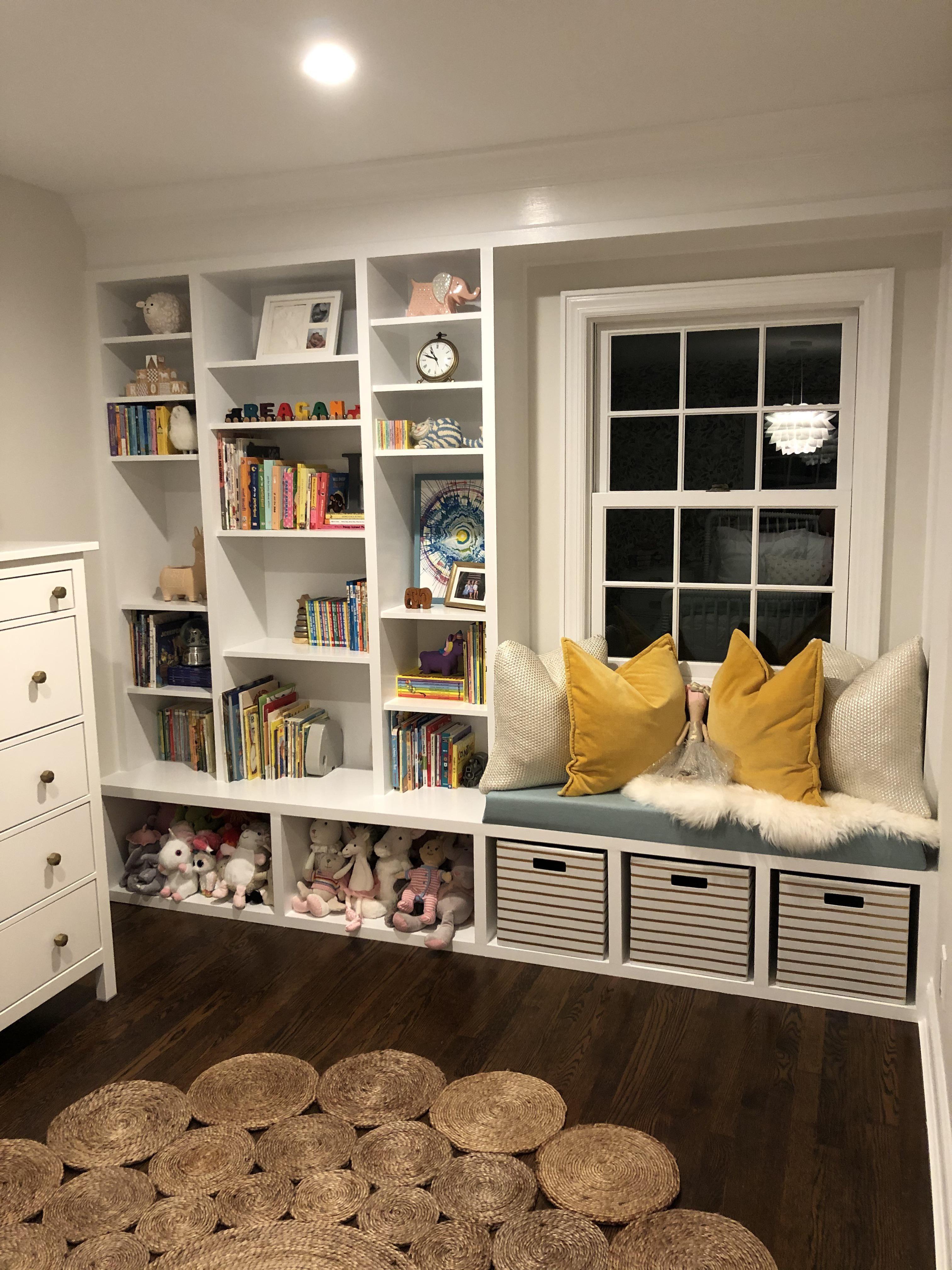 Builtin bookshelves with window bench httpsifttt