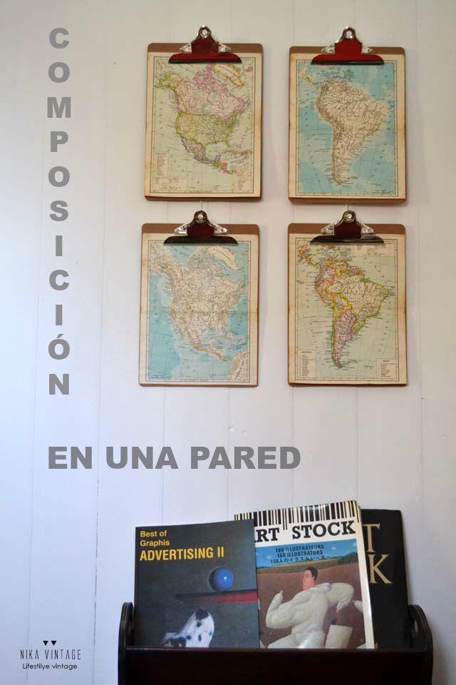 decorando con clipboards y mapas 8