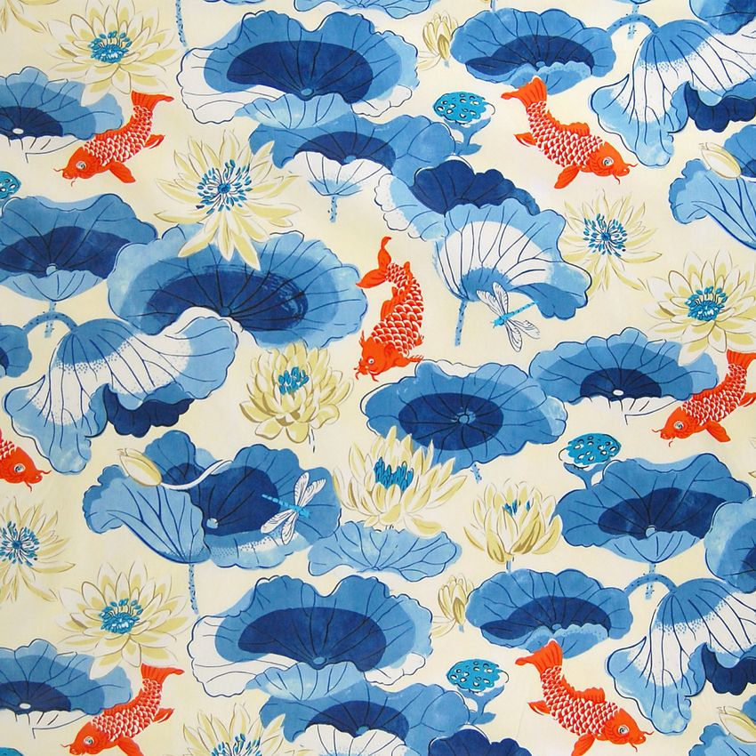 Porcelain Blue Animal Print Cotton Upholstery Fabric Home