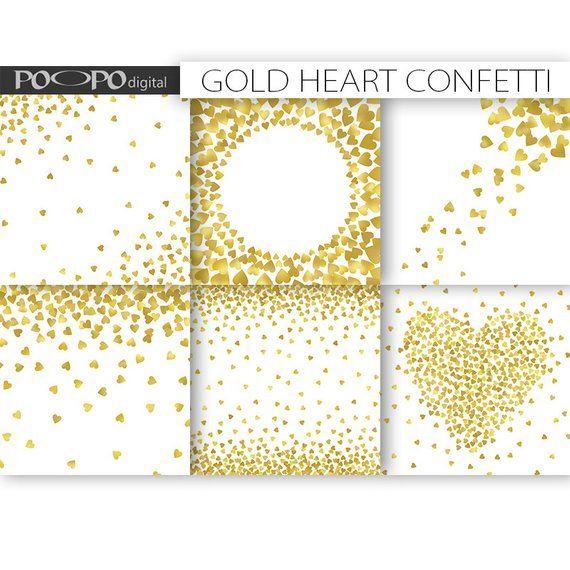Gold Heart Confetti Digital Paper Card Design Invitation