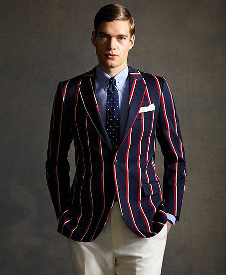 the great gatsby collection red white and navy stripe regatta blazer brooks brothers 798. Black Bedroom Furniture Sets. Home Design Ideas