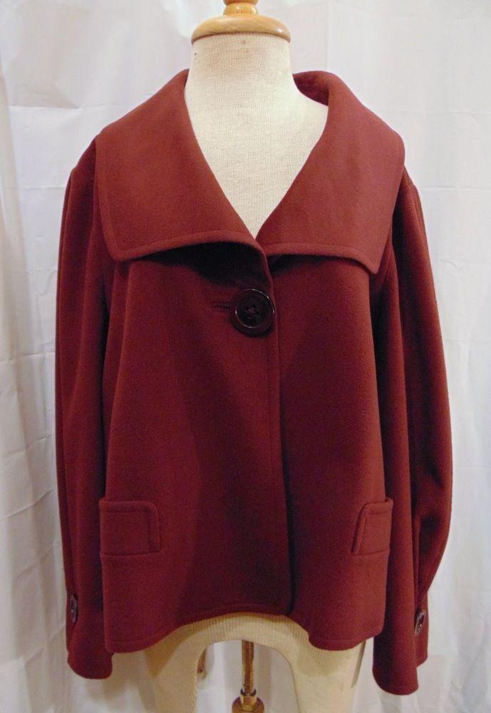 Ellen Tracy cropped jacket burgundy large collar wool angora blend Sz 18 1X #EllenTracy #BasicJacket