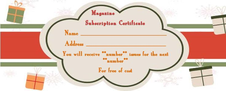Magazine Subscription Gift Certificate Template 15 For Magazine Subscription Gift Magazine Subscription Gift Gift Certificate Template Certificate Templates
