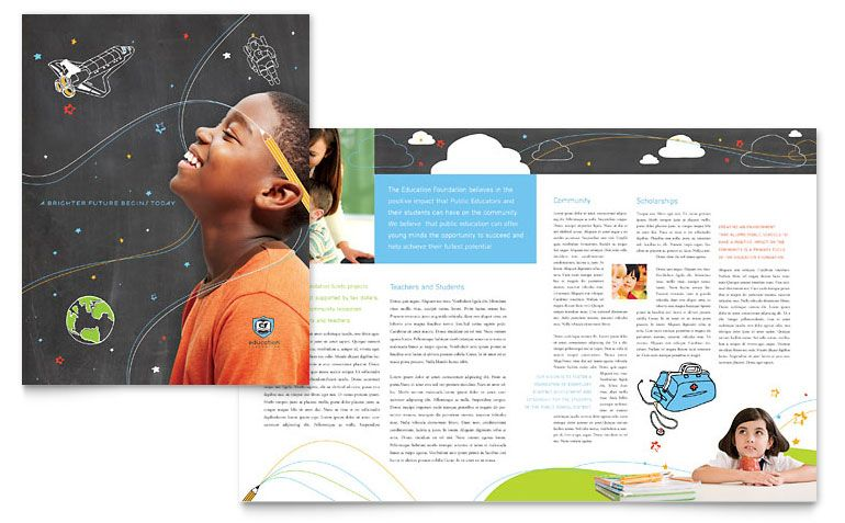 Learning Center  Elementary School  Brochure Template Design
