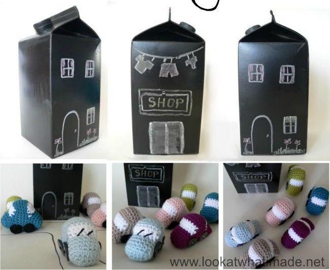 reciclar con pintura de pizarra para jugar con nios