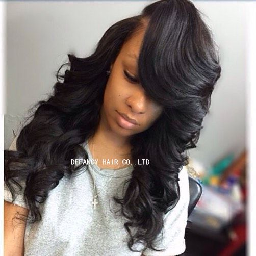 Loose curly weave with bang