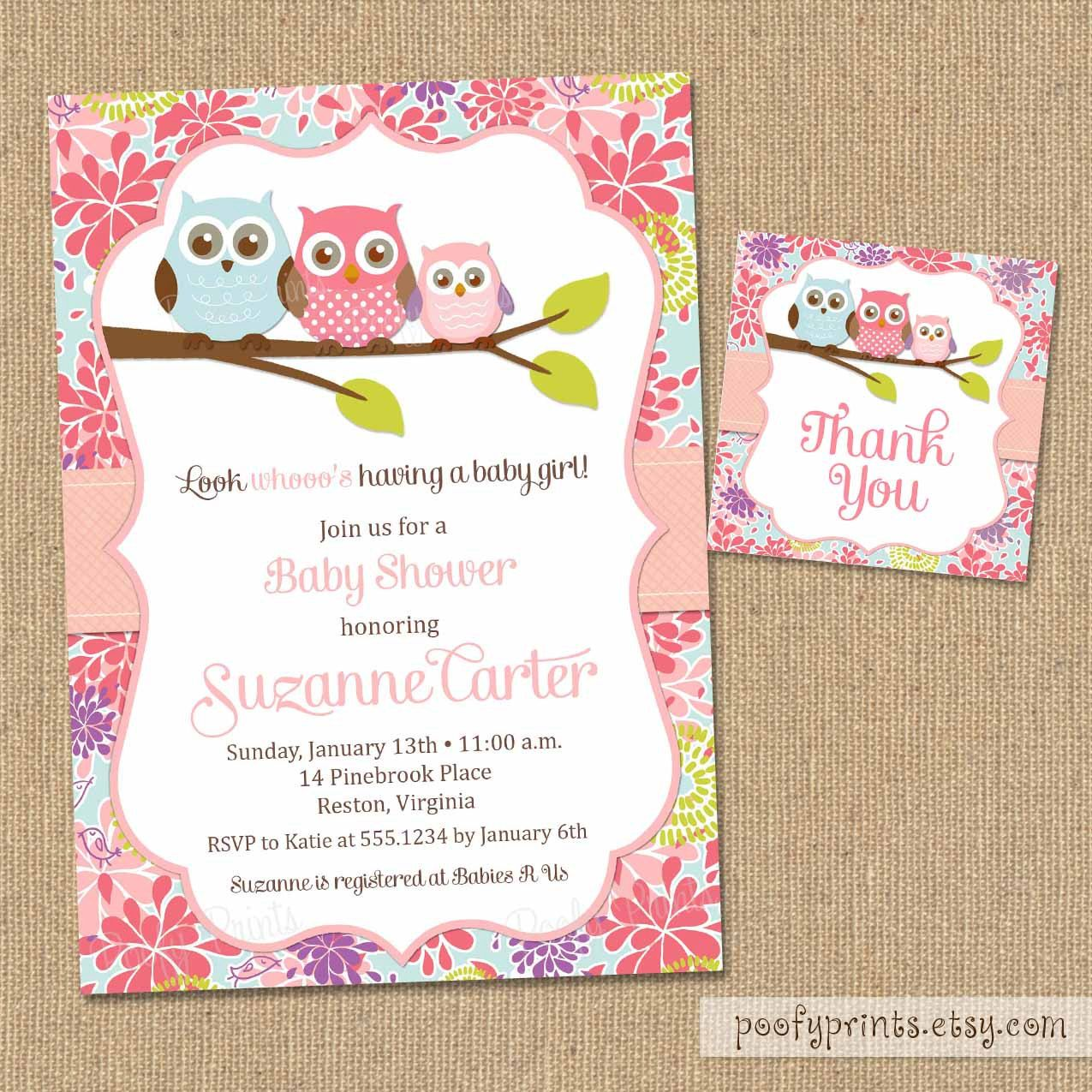 Owl baby shower invitations diy printable baby girl for Free printable baby shower invitations templates
