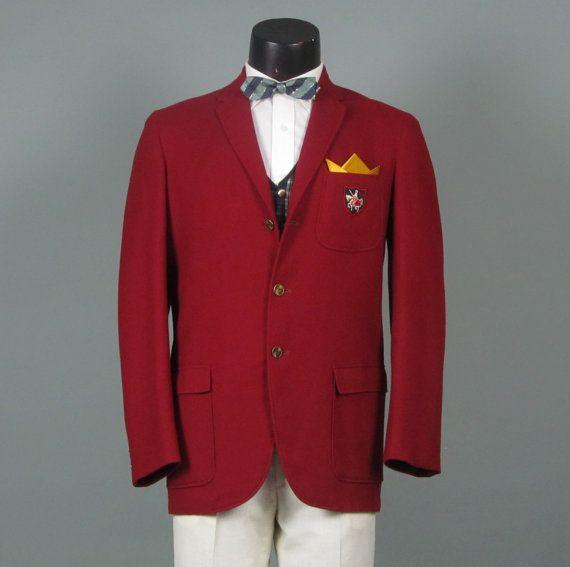 15f4b835c098 Vintage 1960s Mens Blazer -- Preppy Trad Crest Pocket Prep School Jacket -  Red Wool Ivy League Sport Coat 38/39