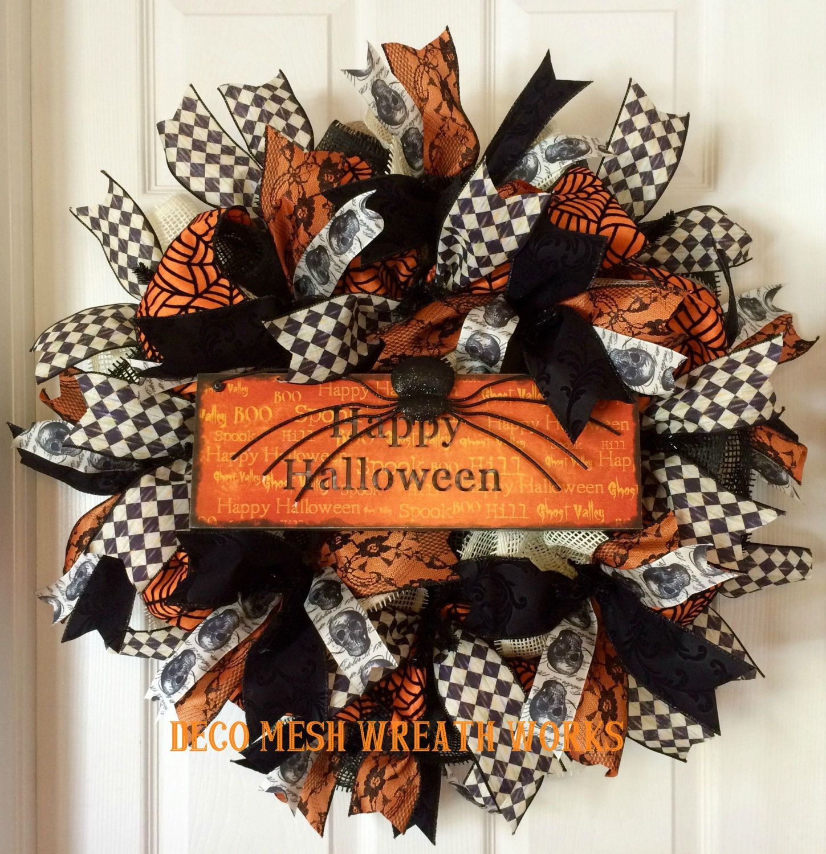 Halloween Wreath, Halloween Wreaths, Spider Wreath, Skull Wreath, Mesh Wreaths, Deco Mesh Wreath, Paper Mesh Wreath, Fall Wreath, Halloween