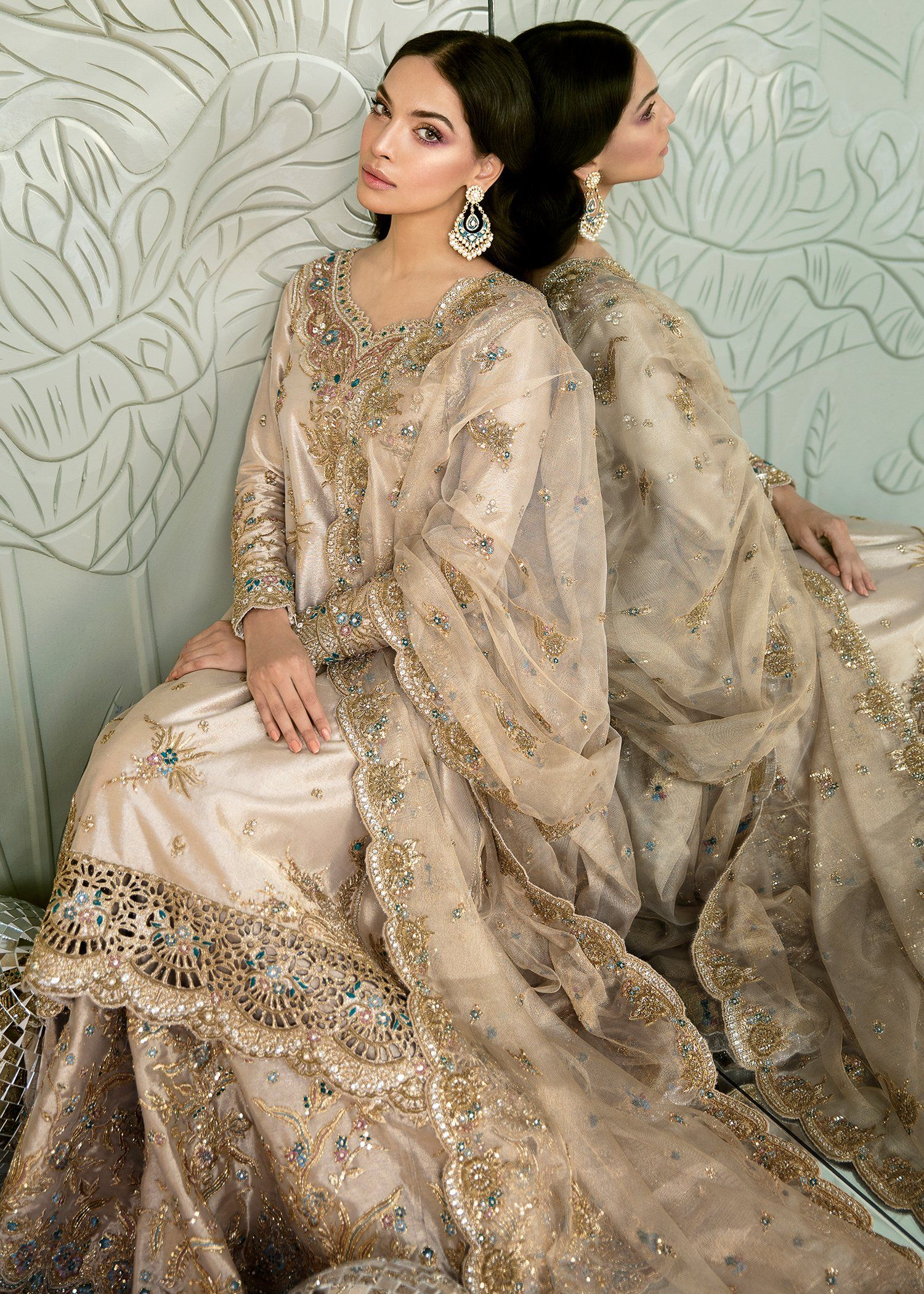 Pakistani bridal dress in gold color for wedding j5148 in