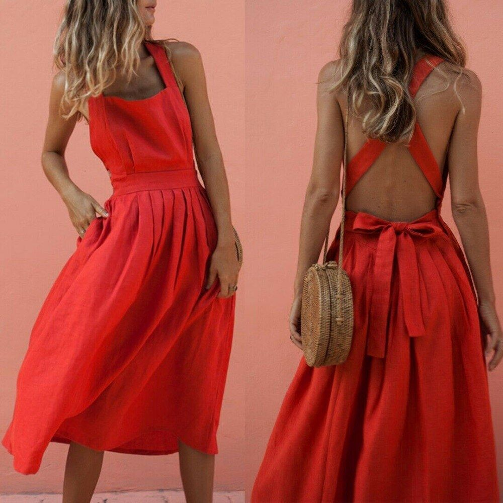 Boho Summer Long Red Dress Women Backless Straps Sleeveless Slim Bandage Maxi Dresses Evening Party Beach Sundress - Summer Dresses