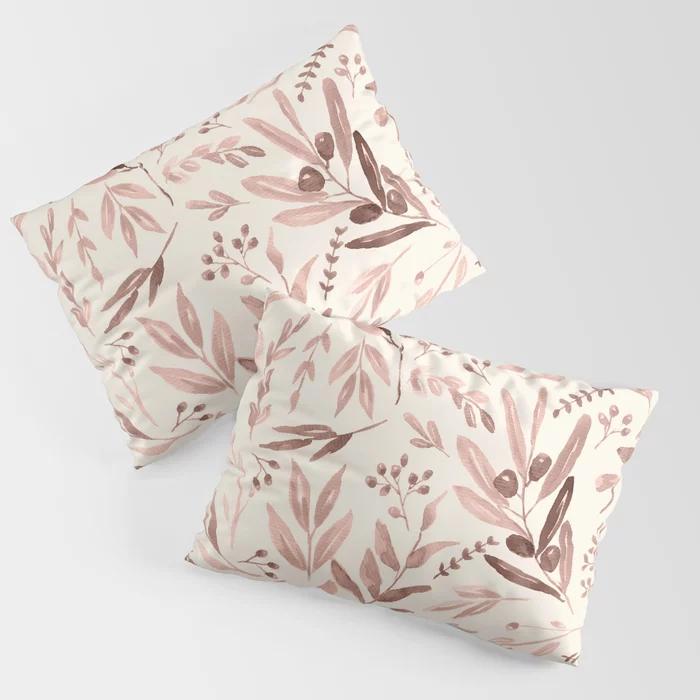 eucalyptus pattern blush beige pillow