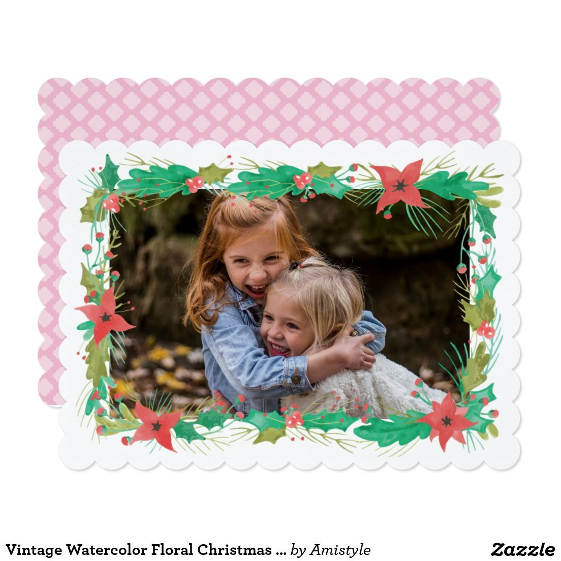 Vintage Watercolor Floral Christmas Photocard