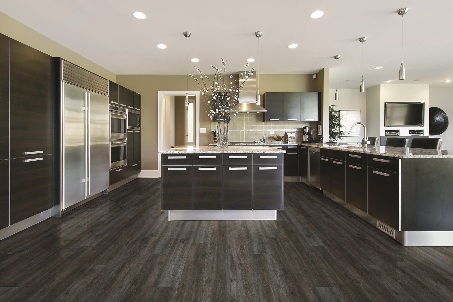 Waterproof Laminate Flooring For Kitchens Coretec Plus Xl Metropolis Oak Large Modern Kitchen Lvt