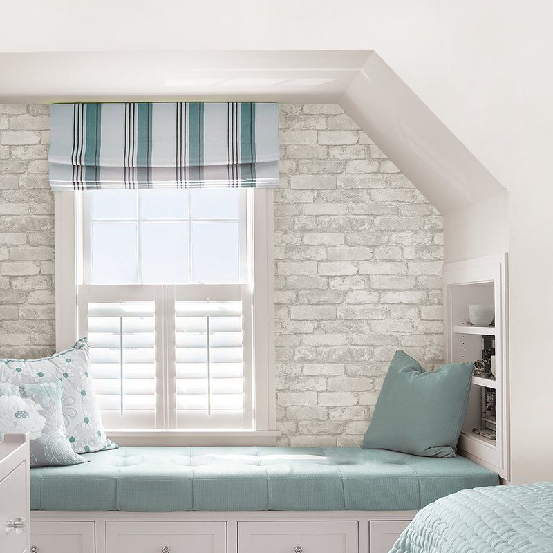 incredible white brick wallpaper bedroom | Brick Removable Wallpaper Joss & Main | blue (turquoise ...