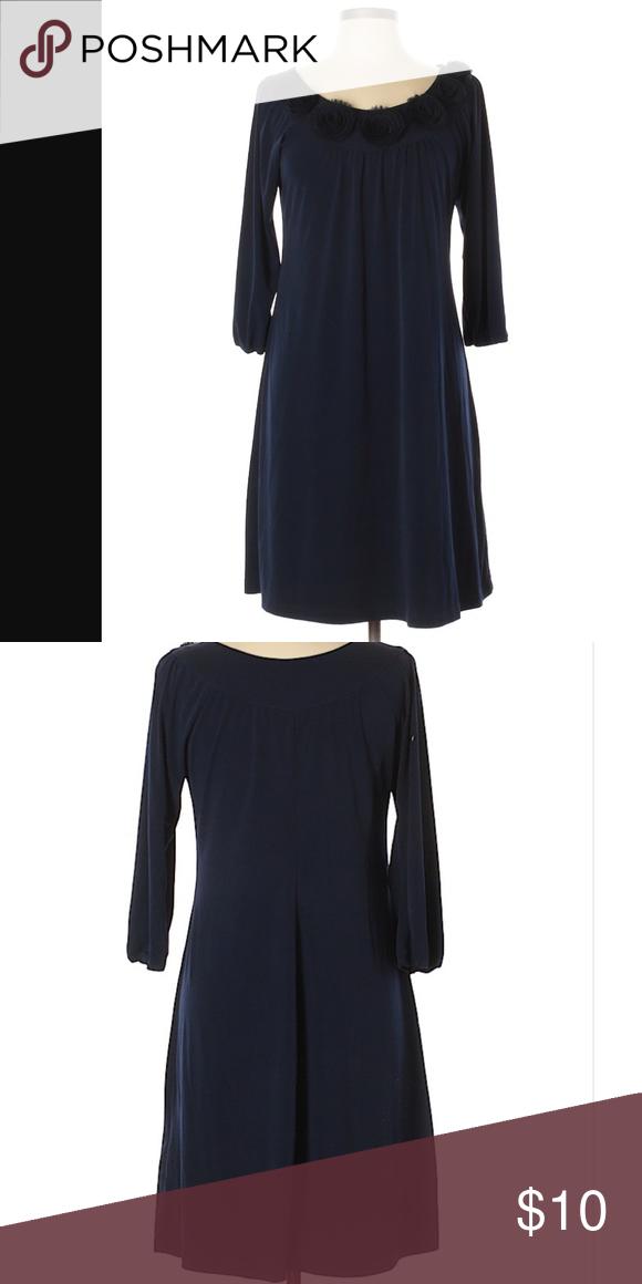 6133ff46df9 Dress Barn Navy Long Sleeve Casual Dress Shift Short Scoop neckline 3-4  sleeves Dark