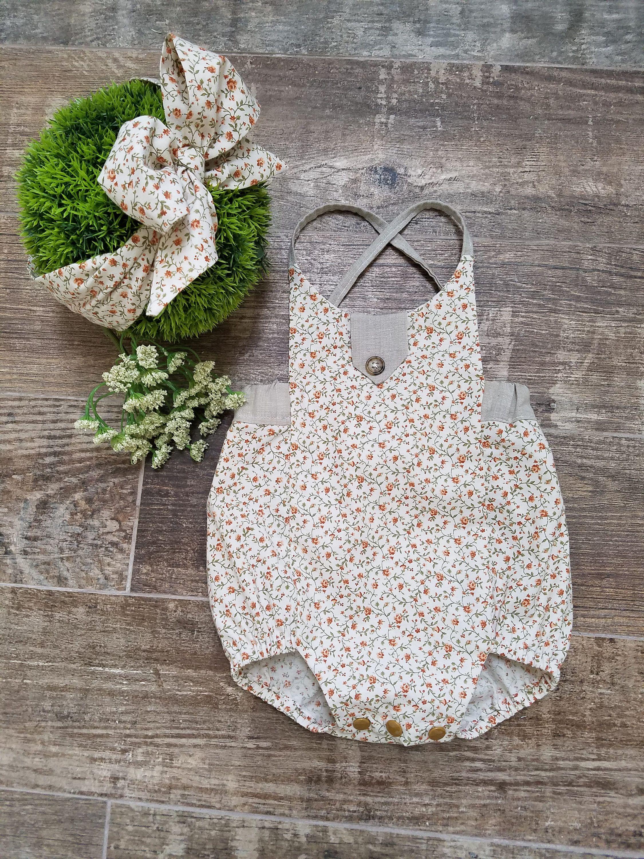 8cd74d5c7 Baby Girls Boho Romper Outfit- vintage romper-1st birthday romper ...