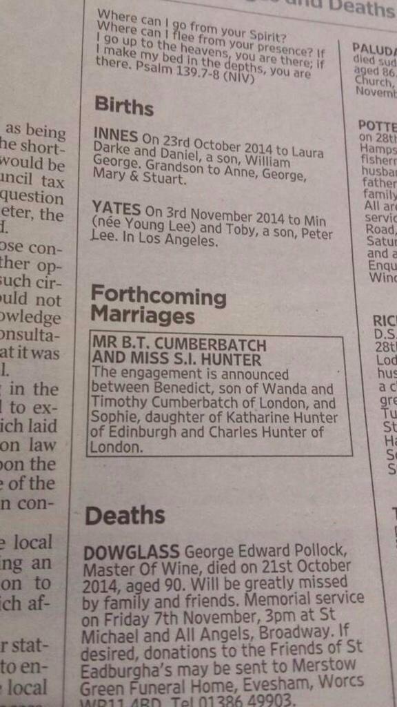Benedict Cumberbatch and Sophie Hunter Engagement Announcement