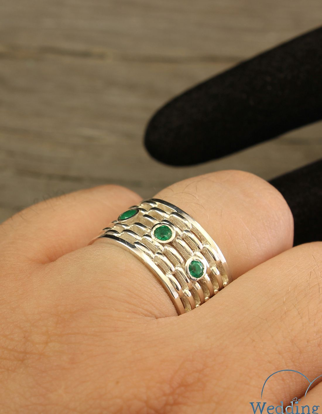 Exclusive Bold Man S Wide Wedding Band With Emeralds In Etsy Silver Wedding Bands Emerald Wedding Band Mens Emerald Rings