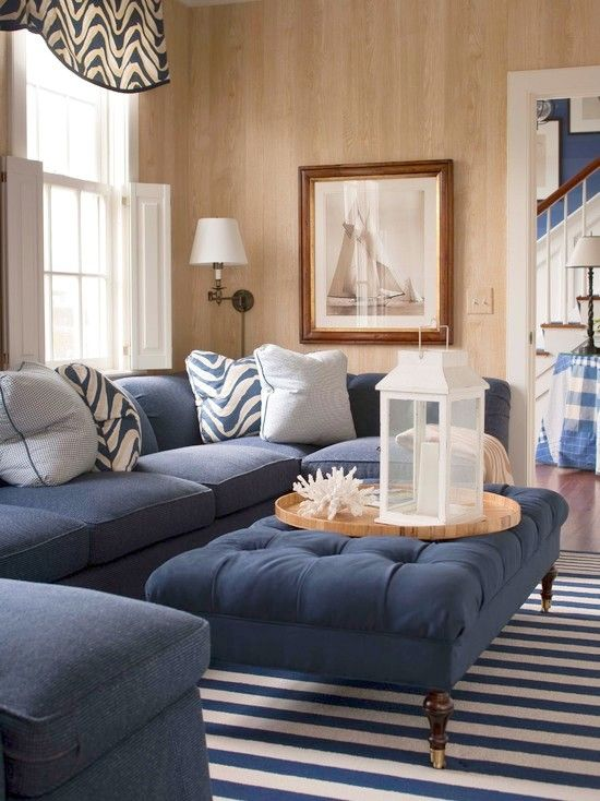 Beachy Living Room Navy Blue Sectional Sofa Velvet Tufted Ottoman Striped Rug And
