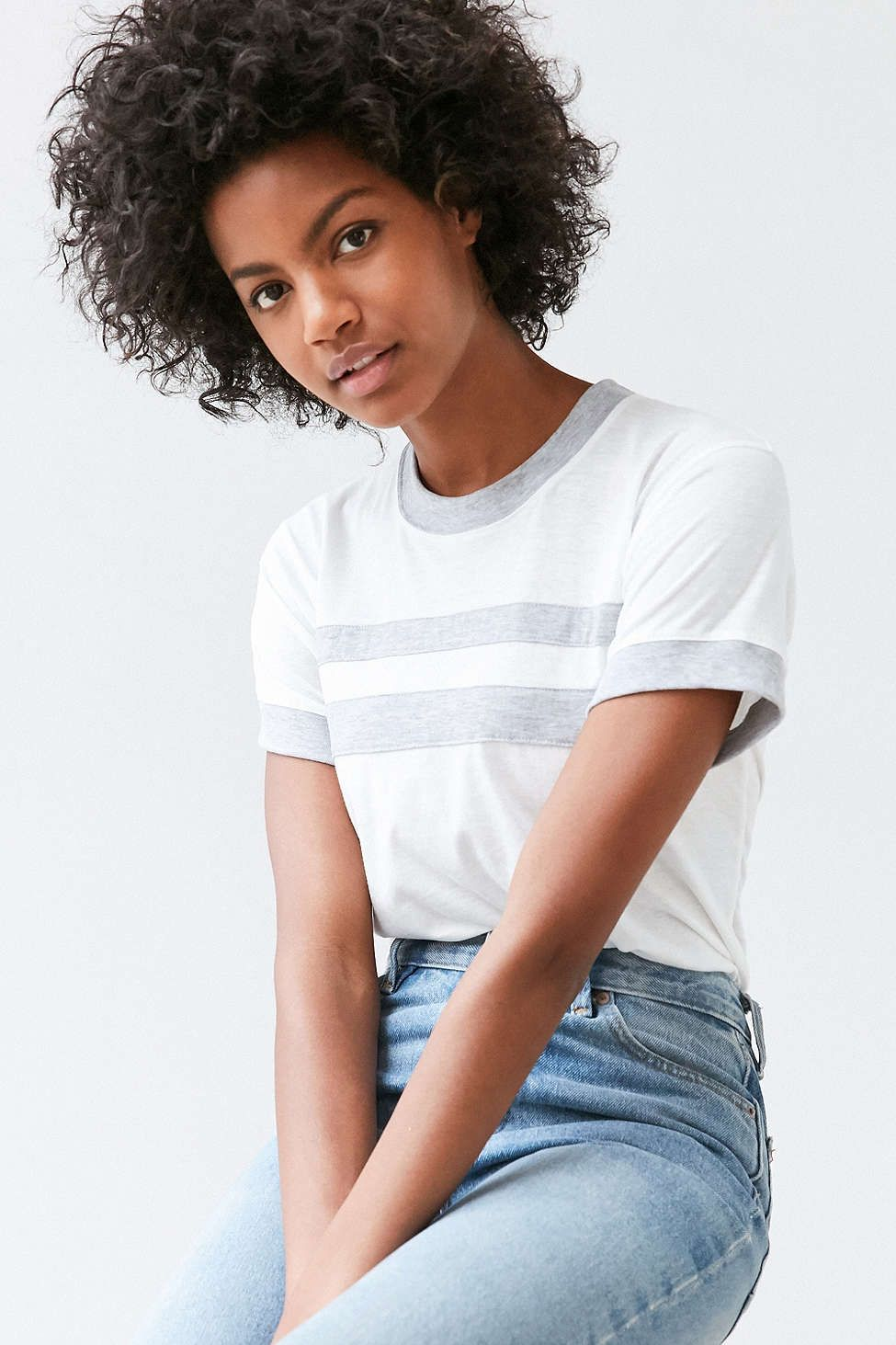camp collection & uo striped ringer tee - urban outfitters