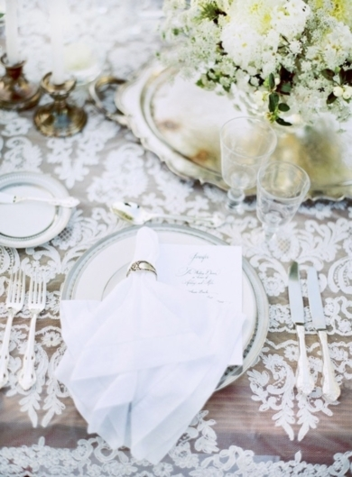 Lace overlay on table   photo by Jose Villa on Munaluchi Bridal
