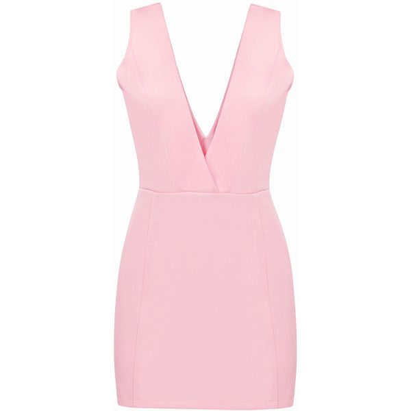 Yoins Pink Sexy Plunge V-neck Sleeveless Bodycon Dress (140 DKK) ❤ liked on Polyvore featuring dresses, vestidos, pink, v neck cocktail dress, sexy bodycon dresses, sexy dresses, sexy v neck dress and bodycon dress
