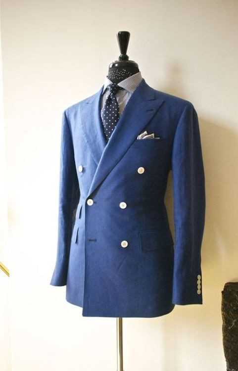 04c990ccd Indigo double-breasted jacket paired with striped shirt and navy ...