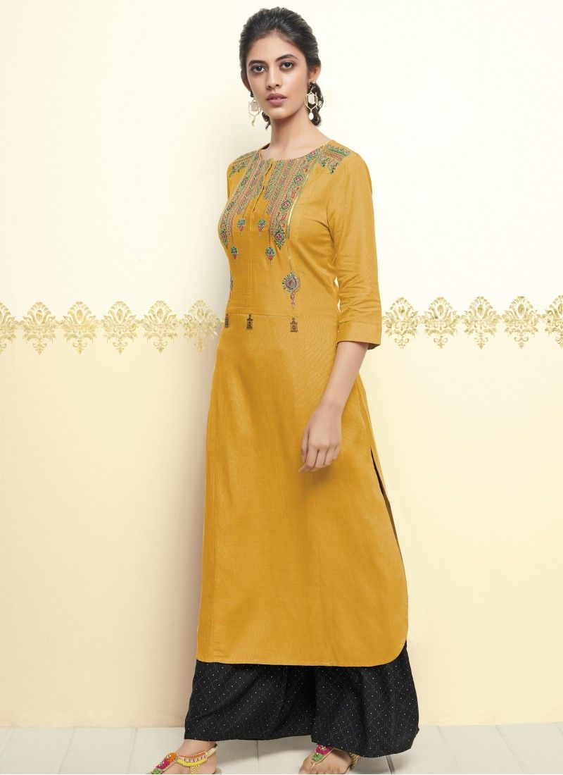 8a6f92f9523 Cotton Embroidered Yellow Designer Kurti