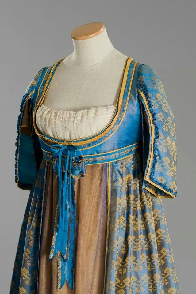 With Printed Regency Or Of Robe Warp 1790s Gown Open SilkLate BQrxoWdCe
