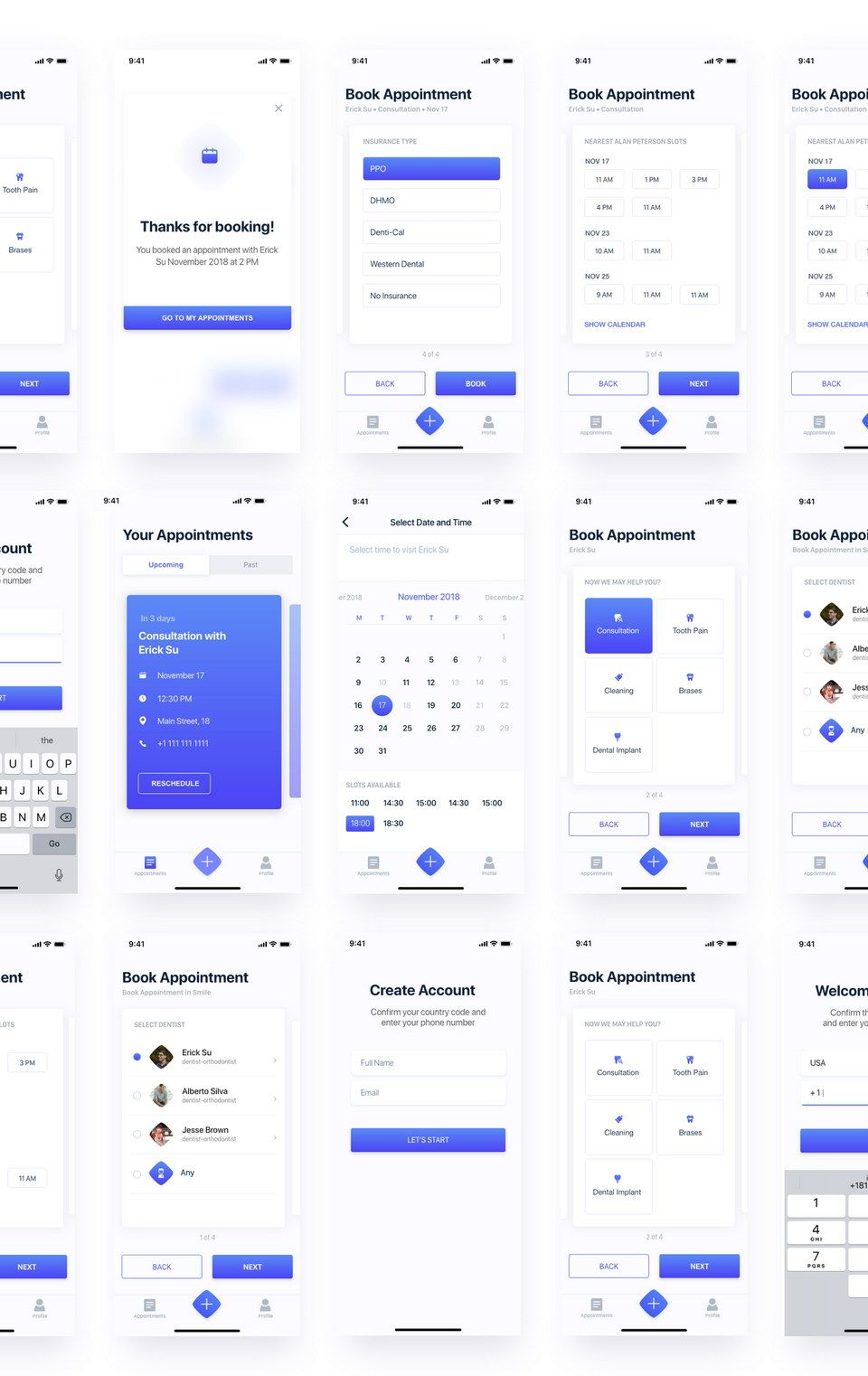 Booking Appointment UI Kit XD | UI | Ios app design, App ui