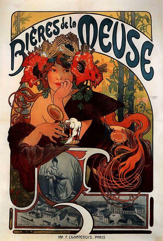 Bières de la Meuse,1897,Alphons Mucha,Litography