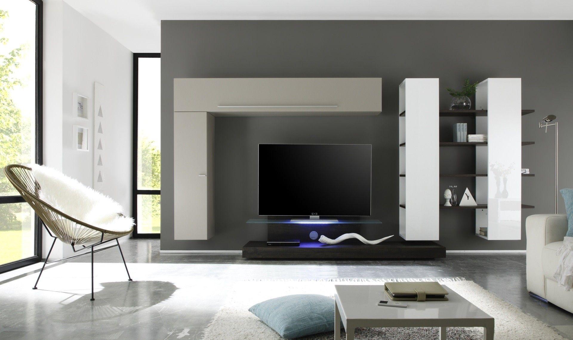 Parete attrezzata con base tv #design moderno; finitura bianco ...