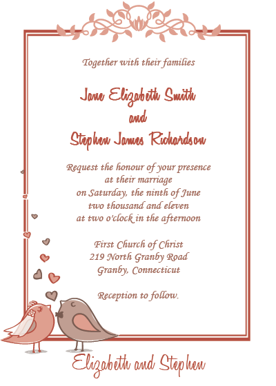 graphic about Printable Invitation Kits referred to as Marriage ceremony Invites Totally free  Birds - Birdie Couple of Free of charge