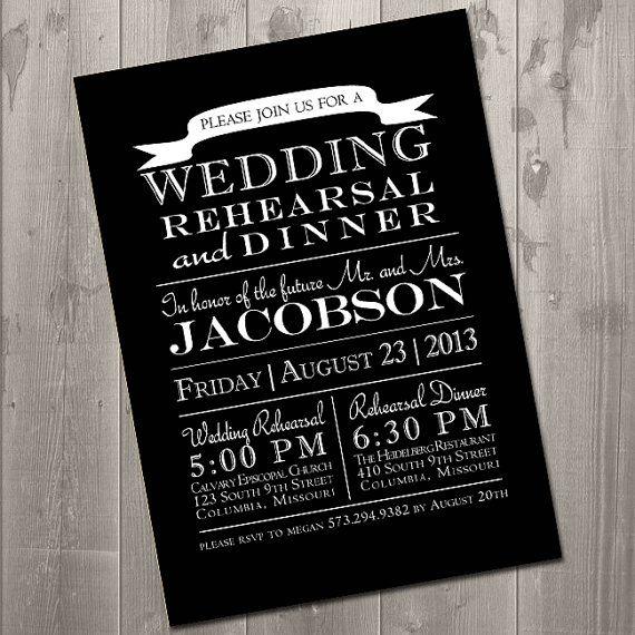 customizable modern wedding rehearsal dinner invitation