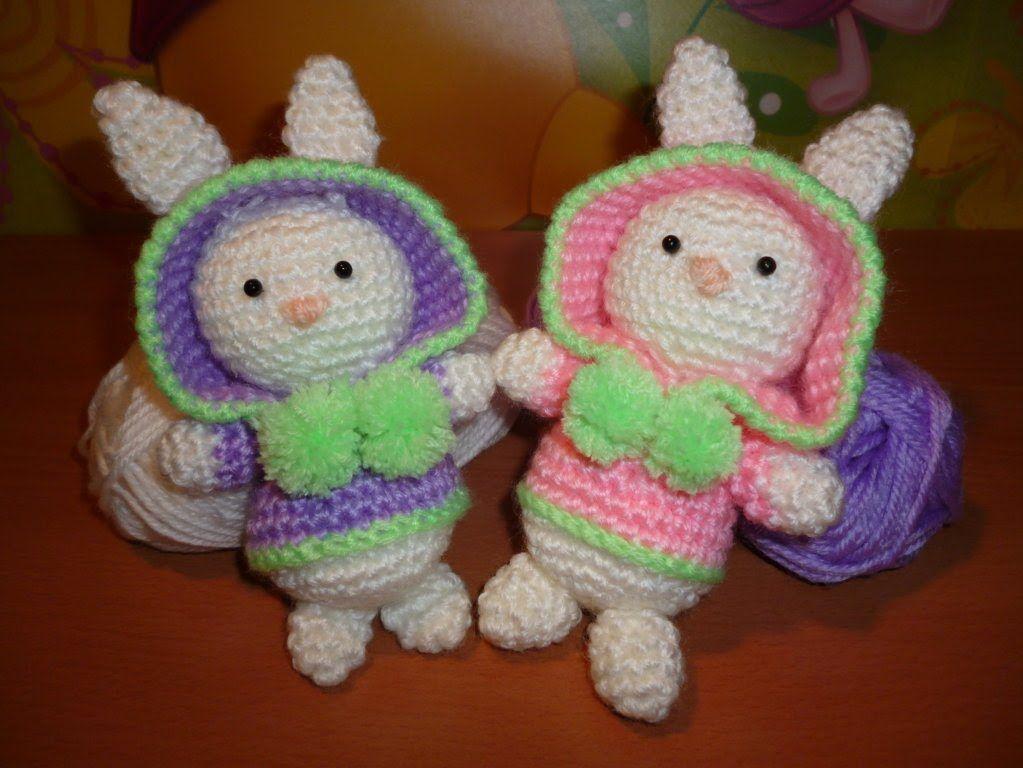 Amigurumi Oso Pijama : Oso gato chancho y conejo bebés en pijamas crochet amigurumi