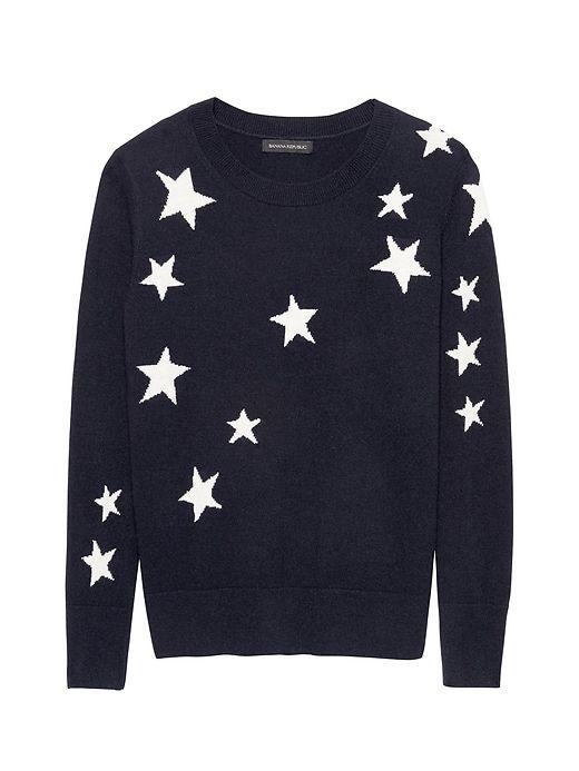 6569ab3bd97 Banana Republic Womens Italian Merino-Blend Star Intarsia Sweater Navy Blue