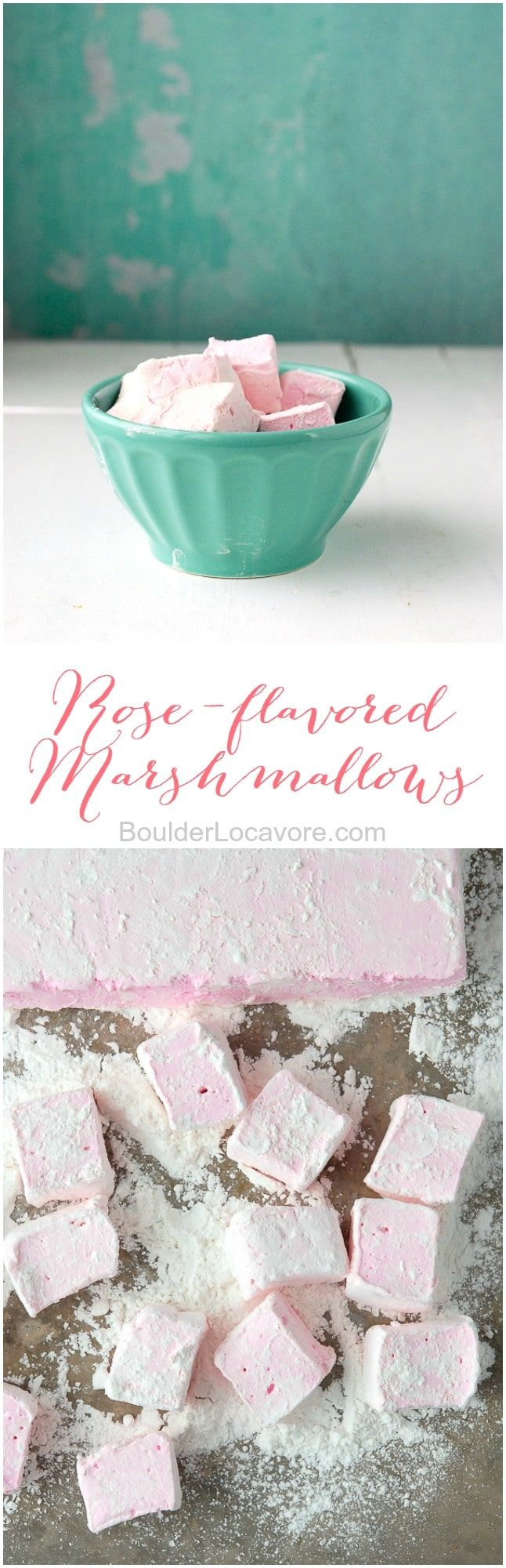 These beguiling treats are a surprise to all who eat them: Rose-flavored Marshmallows (recipe). They taste as roses smell! #flavoredmarshmallows