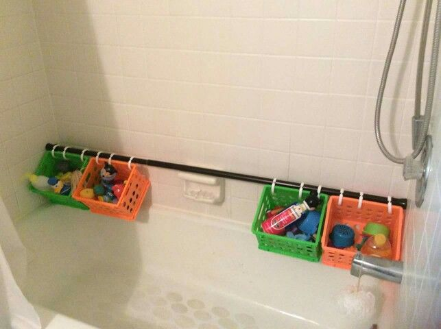 Use A Shower Curtain Rod Dollar Store Baskets Hooks For Easy To Get Organized Play And Wash Station