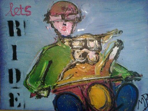 Schilderij geverft bulldog met vrouw op de motor