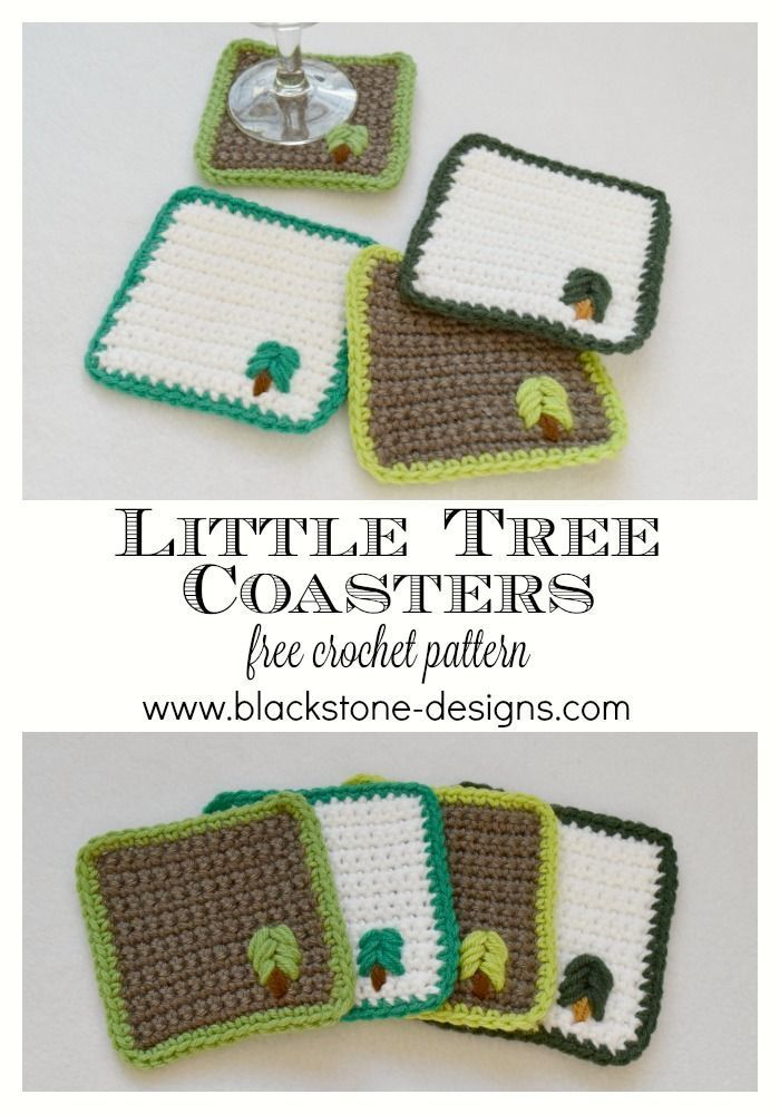 Little Tree Coasters | Crochet From Around the Web | Pinterest ...